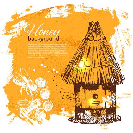 lindeboom: Honing hand getekende schets illustratie Stock Illustratie