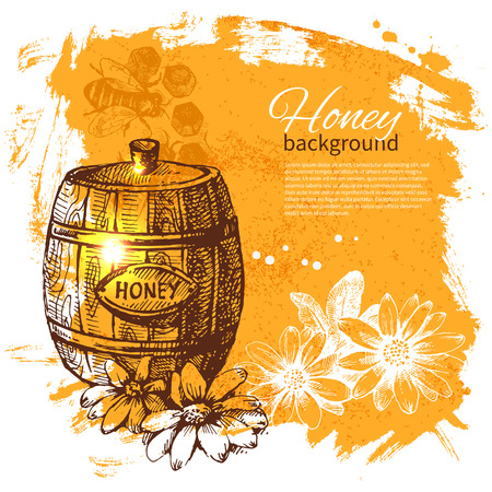 Honey background with hand drawn sketch illustration Stock Vector - 24468661
