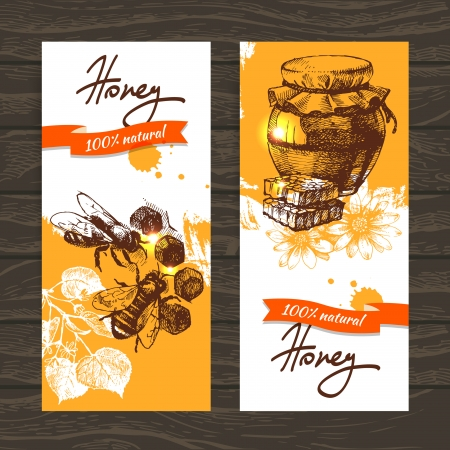 honey pot: Set of honey banners with hand drawn sketch illustrations Illustration