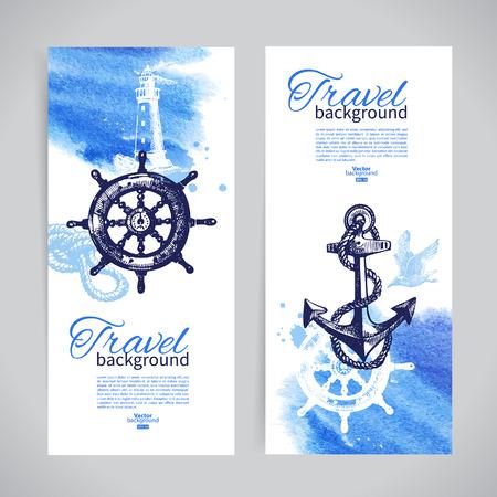 旅行バナーのセットです。海航海デザイン。手描きのスケッチと水彩イラスト