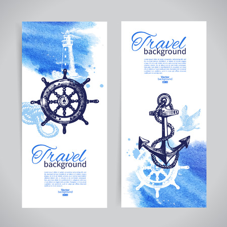 Set of travel banners. Sea nautical design. Hand drawn sketch and watercolor illustrations  Vector