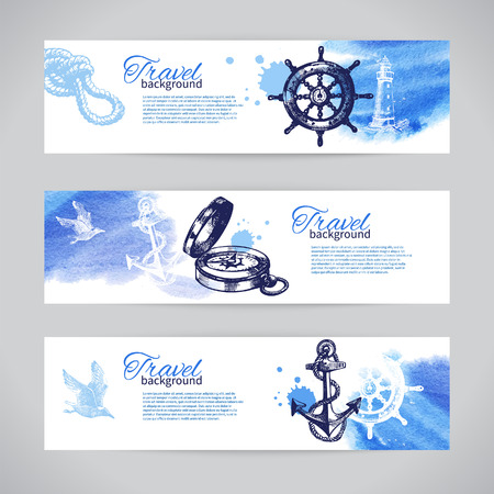 sea: Set of travel banners. Sea nautical design. Hand drawn sketch and watercolor illustrations  Illustration