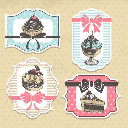 donut shop: Set of vintage bakery labels. Vintage frames with sweet cupcakes