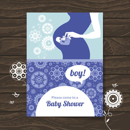 baby hand: Silhouette pregnant mother. Baby shower invitation
