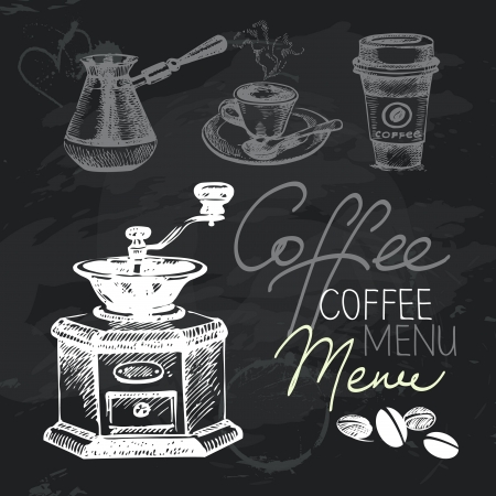 tarde de cafe: Café dibujado a mano pizarra escenografía. Negro textura tiza