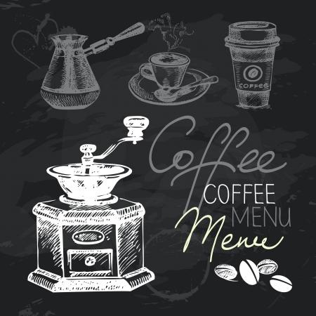 koffiebaal: Koffie hand getekende bord ontwerp set. Zwart krijt textuur