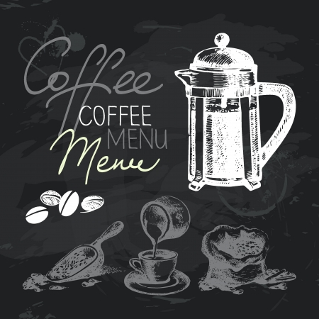 Coffee hand drawn chalkboard design set. Black chalk texture Vector