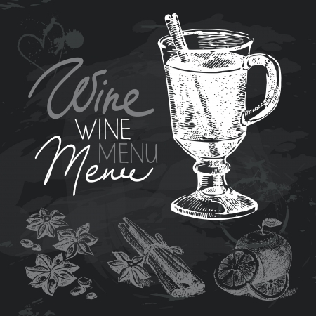 Mulled wine hand drawn chalkboard design set. Black chalk texture  Vector