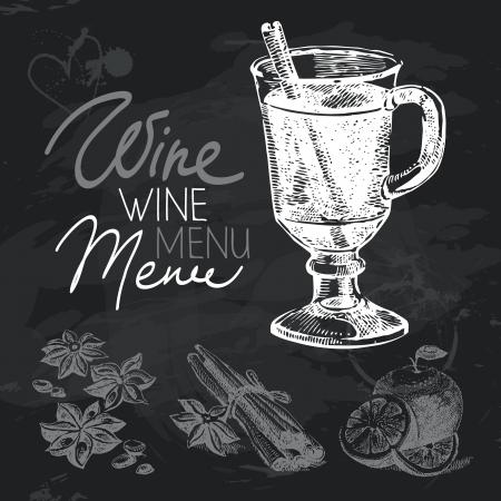 mulled wine: Mulled wine hand drawn chalkboard design set. Black chalk texture  Illustration