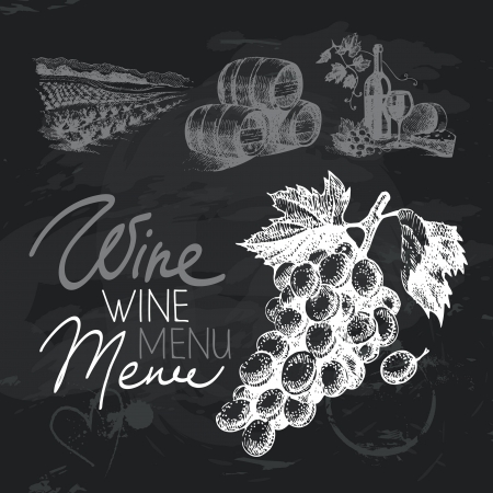 grapes wine: Wine hand drawn chalkboard design set. Black chalk texture Illustration