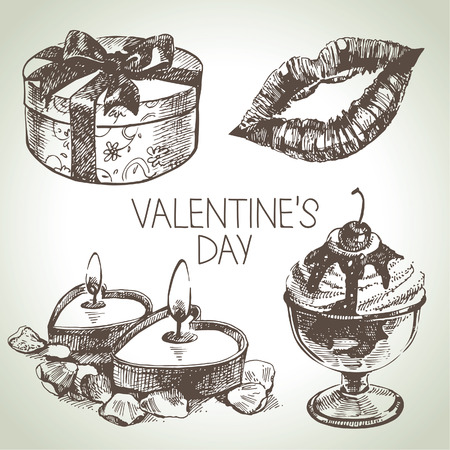 Set of Valentine's Day. Hand drawn illustrations Stock Vector - 24468698