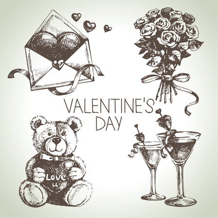 Set of Valentine's Day. Hand drawn illustrations Vector