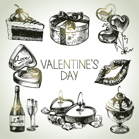 Set of Valentine's Day. Hand drawn illustrations Stock Vector - 24468702