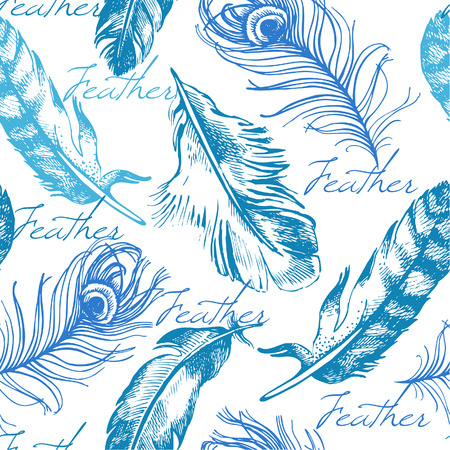 Vintage feather seamless pattern Illustration