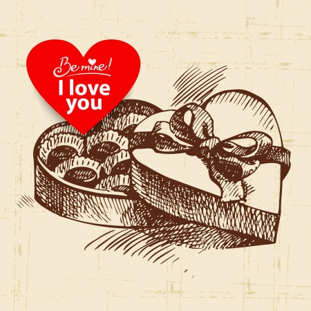 Valentines Day vintage background. Hand drawn illustration with heart form banner.  Box of chocolate.  Vector
