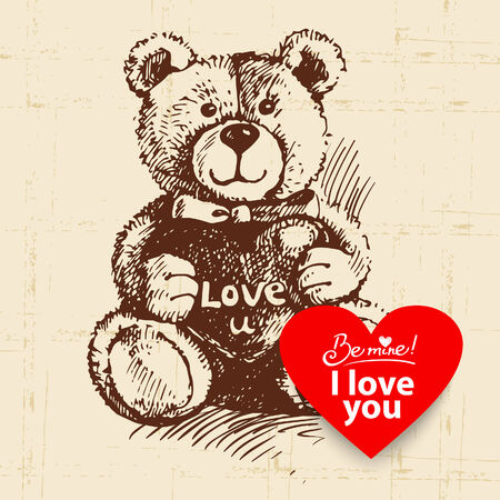 Valentines Day vintage background. Hand drawn illustration with heart form banner.  Teddy bear with heart