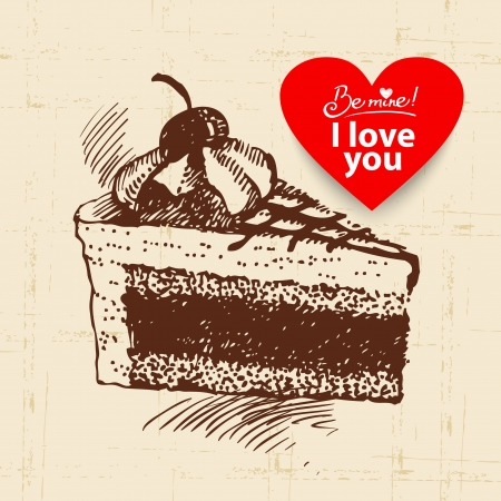 Valentines Day vintage background. Hand drawn illustration with heart form banner.  Cake  Vector