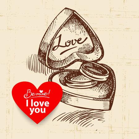 Valentines Day vintage background. Hand drawn illustration with heart form banner.  Box with wedding rings.  Ilustração