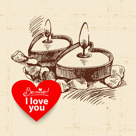 Valentines Day vintage background. Hand drawn illustration with heart form banner.  Candles with rose petals  Vector