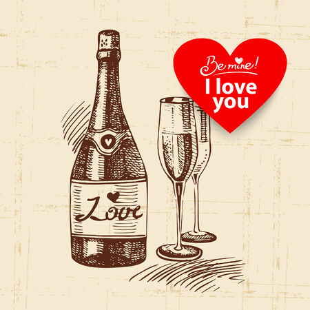 Valentines Day vintage background. Hand drawn illustration with heart form banner.  Champagne and wineglass