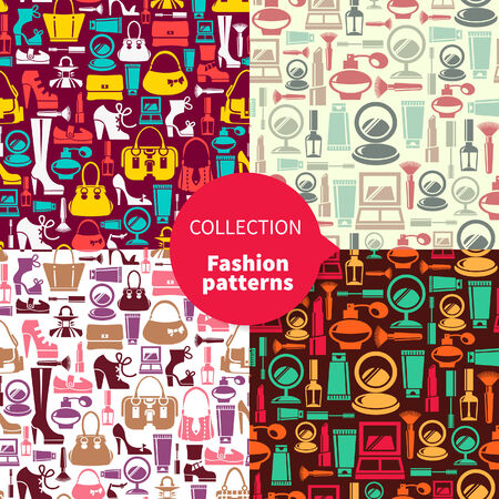 Fashion patterns. Set of seamless patterns with beauty female icons  Vector