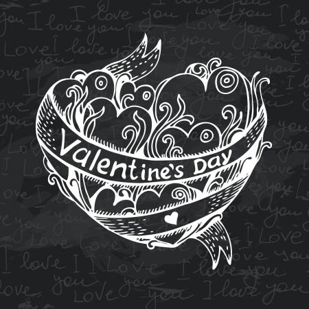 Hand drawn heart chalkboard design. Black chalk texture. Valentines Day card Stock Vector - 24468751