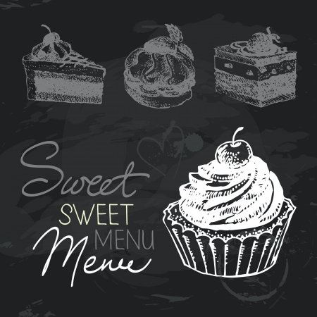 Sweet cakes hand drawn chalkboard design set. Black chalk texture Vector