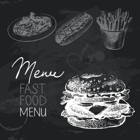 grilled vegetables: Fast food hand drawn chalkboard design set. Black chalk texture