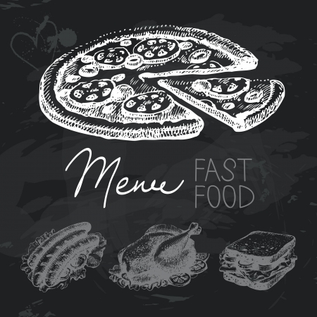 Fast food hand drawn chalkboard design set. Black chalk texture Vector