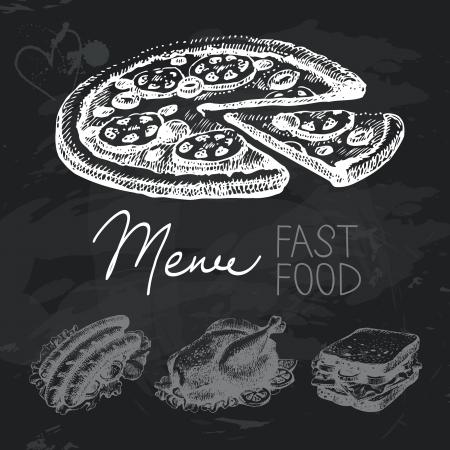 Fastfood hand getekende bord ontwerp set. Zwart krijt textuur