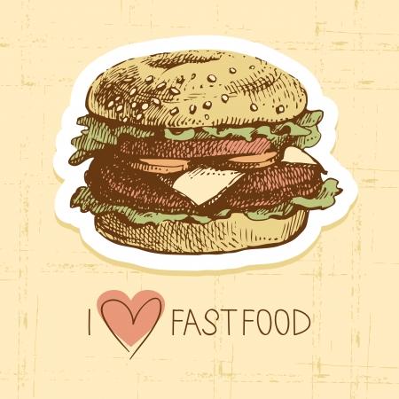 comida rápida: Fondo de la vendimia de comida r�pida. Dibujado a mano ilustraci�n. El dise�o del men� Vectores