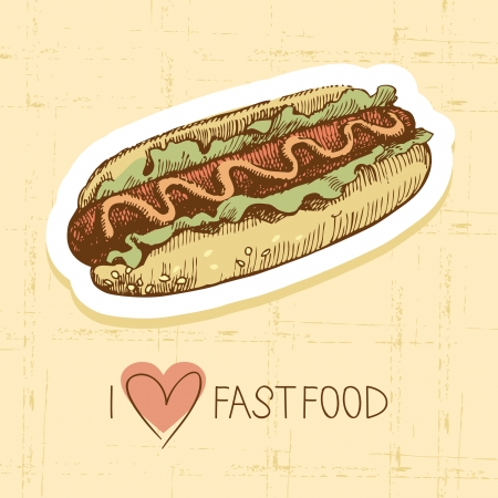 hot dog: Vintage fast food background. Hand drawn illustration. Menu design