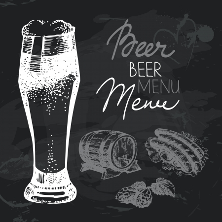 beer texture: Oktoberfest beer hand drawn chalkboard design set. Black chalk texture