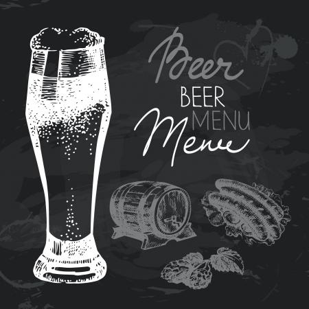bbq barrel: Oktoberfest beer hand drawn chalkboard design set. Black chalk texture