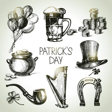 buena suerte: Conjunto Día de San Patricio. Dibujado a mano ilustraciones