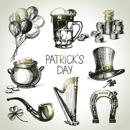 patrick's: St. Patricks Day set. Hand drawn illustrations