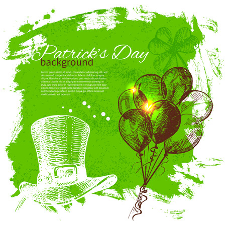 St. Patrick's Day background with hand drawn sketch illustrations  Vector