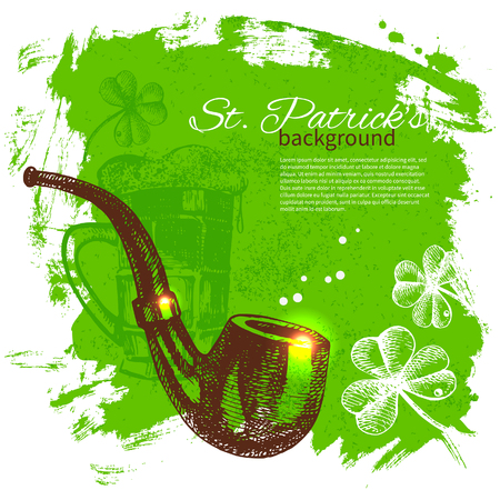 St. Patrick's Day background with hand drawn sketch illustrations  Stock Vector - 24468769