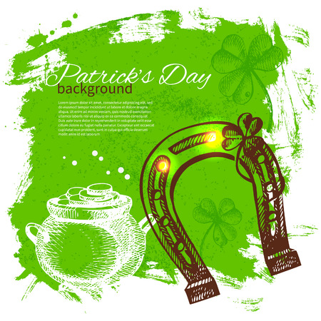 St. Patrick's Day background with hand drawn sketch illustrations  Stock Vector - 24468771