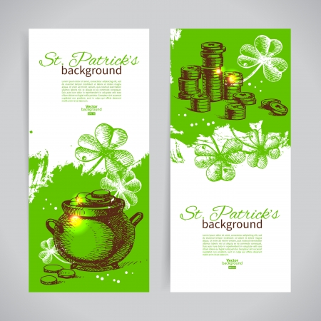 Set of St. Patrick's Day banners with hand drawn sketch illustrations Vector