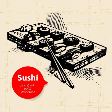 Hand drawn sushi illustration. Sketch background Banco de Imagens - 24468789