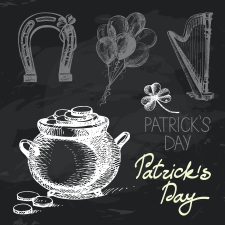 St. Patricks Day hand drawn chalkboard design set. Black chalk texture