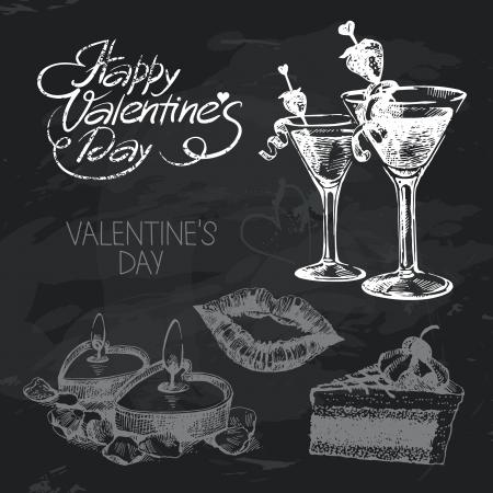 Valentines Day hand drawn chalkboard design set. Black chalk texture Vector