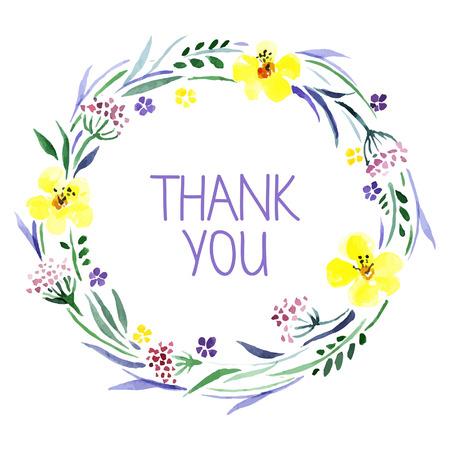 sch�ne blumen: Danke, mit Aquarell-Blumen-Bouquet