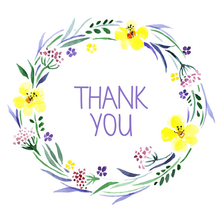 flowers beautiful: Thank you card with watercolor floral bouquet