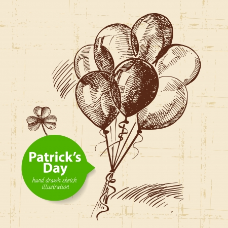St. Patrick%u2019s Day with hand drawn sketch illustration and bubble banner  Vector