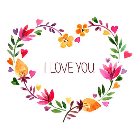 水彩画の花の花束とカードを愛します。  イラスト・ベクター素材
