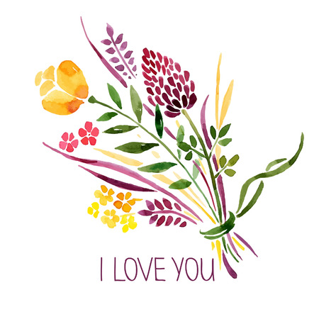 thank you card: Love card with watercolor floral bouquet