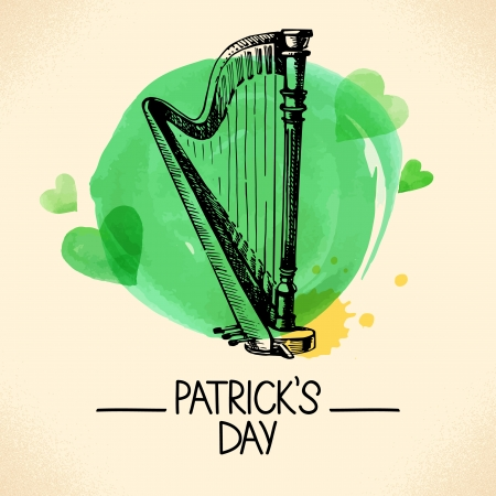 shamrock: St. Patrick%u2019s Day with hand drawn sketch and watercolor illustrations