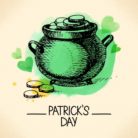 St. Patrick%u2019s Day with hand drawn sketch and watercolor illustrations Stock Vector - 24634742